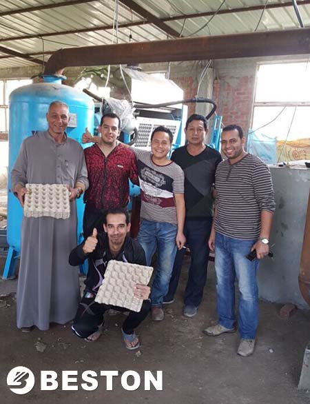 Engineers with Jordan Customers for installing egg tray machine