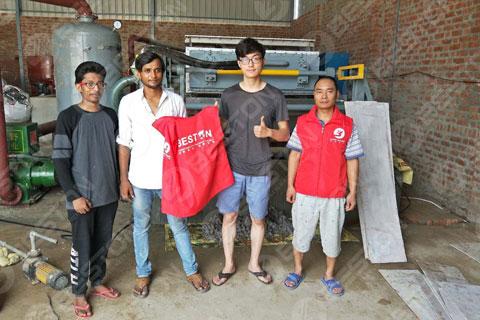 BTF4-4 Beston Egg Tray Machine Installed in India