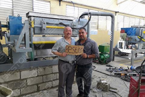 BTF4-4 Beston Manual Egg Tray Machine Installed in Dominica